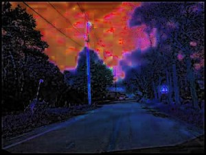 Night Road, photo by me, digital manipulation courtesy of GIMP